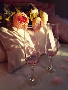 Peonies, champagne flutes