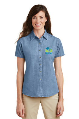 Bethel School District Ladies Denim Short Sleeve Shirt