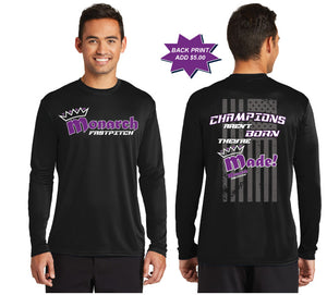 Team Monarch Adult Black Long Sleeve Performance Shirt