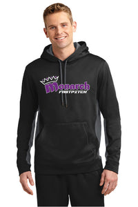 Team Monarch Adult Black Polyester Color-Block Hooded Sweatshirt