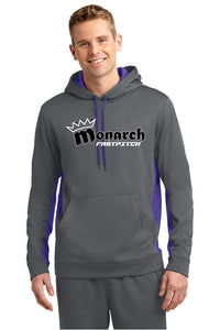 Team Monarch Adult Charcoal Polyester Color-Block Hooded Sweatshirt