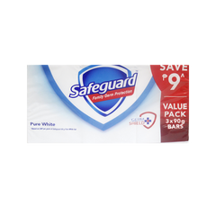 SAFEGUARD SOAP BAR 3PID WHITE 90G PROMO PACK