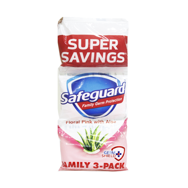 SAFEGUARD BAR SOAP PINK ALOE TRIPID PACK 60G 3S