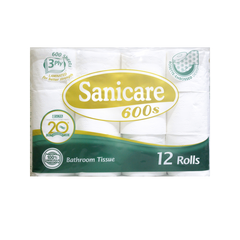 SANICARE BATHROOM TISSUE 600SHEETS 3PLY 12S
