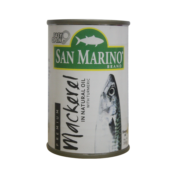 SAN MARINO PREMIUM MACKEREL IN NATURAL OIL EASY OPEN CAN 165G