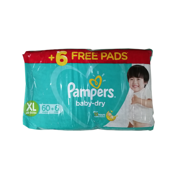 PAMPERS BABY DRY  DIAPER XL 60S