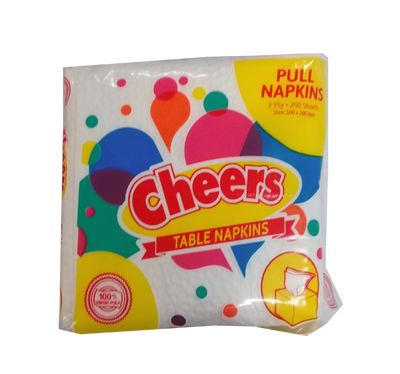 CHEERS TABLE NAPKIN PULL NAPS 200 SHEETS 100MMX200MM