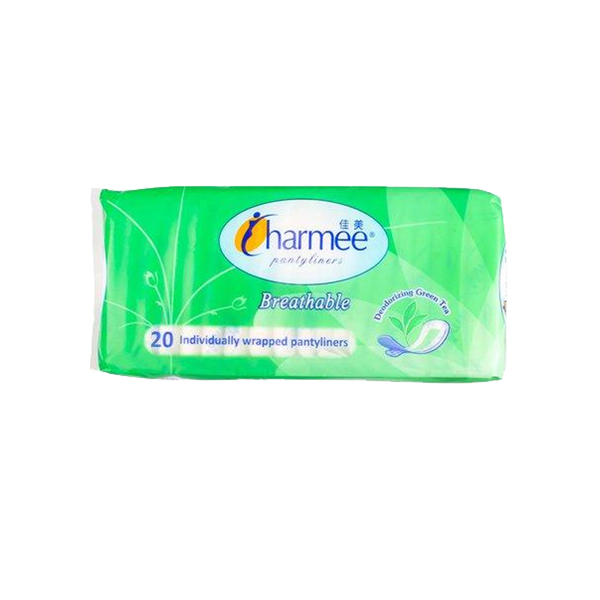 CHARMEE PANTYLINERS BREATHABLE DEODORIZING GREEN TEA 20S