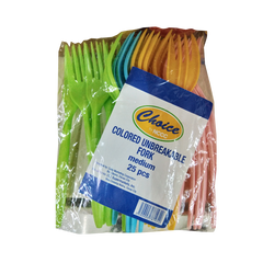 CHOICE UNBREAKABLE FORK COLORED MEDIUM 25S