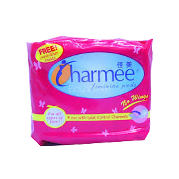 CHARMEE FEMININE PADS NO WINGS FOR ALL TYPES OF FLOW 8S