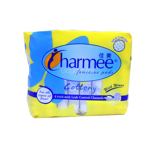 CHARMEE FEMININE PADS W/WINGS FOR ALL TYPES OF FLOW 8S
