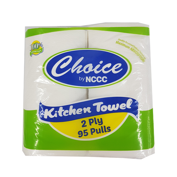 CHOICE KITCHEN TOWEL TWIN 2PLY 100/95PULLS (222MMX222MM)