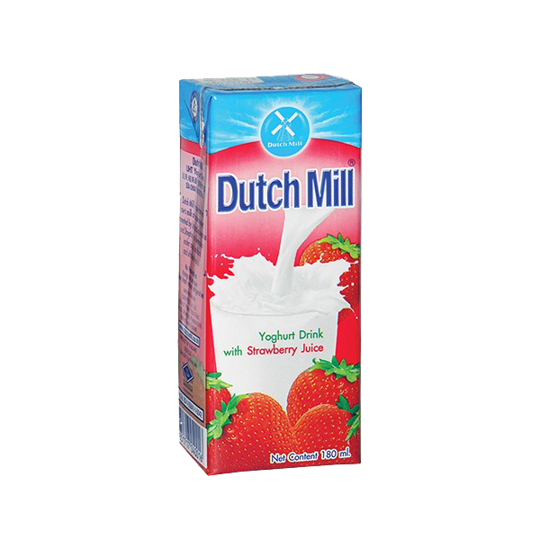 DUTCH MILL UHT YOGHURT DRINK W/STRAWBERRY JUICE 180ML