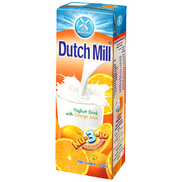DUTCH MILL UHT YOGHURT DRINK W/ ORANGE JUICE 180ML