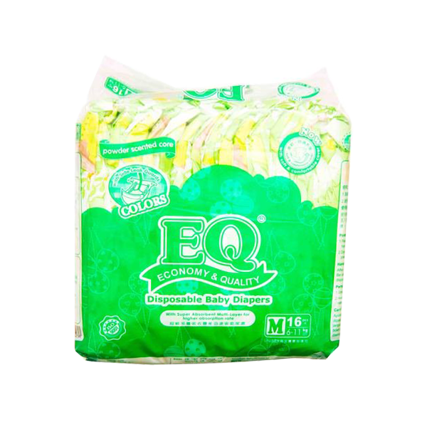 EQ DISPOSABLE BABY DIAPERS COLORS MEDIUM 16S