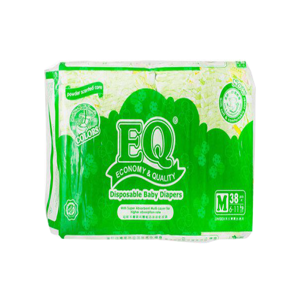 EQ COLORS DISPOSABLE BABY DIAPERS M 38'S