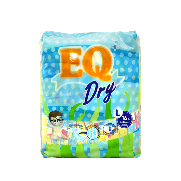 EQ DRY DISPOSABLE BABY DIAPERS LARGE 16S