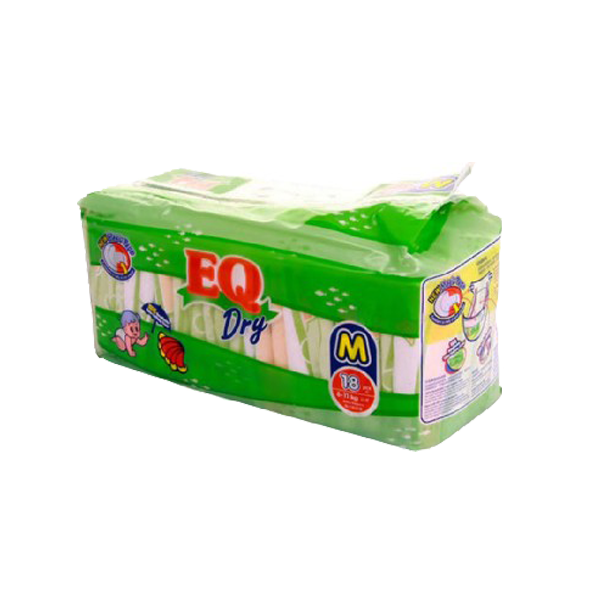 EQ DRY DISPOSABLE BABY DIAPERS MEDIUM 18S