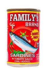 FAMILYS SARDINES TOMATO SAUCE CHILI EASY OPEN CAN 155G