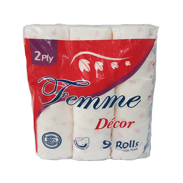 FEMME BATHROOM TISSUE MICRO EMB.2PLY 300SHEETS 9ROLLS