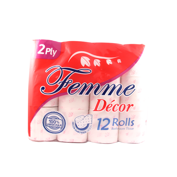 FEMME BATHROOM TISSUE MICRO EMBROSSED 2PLY 12S