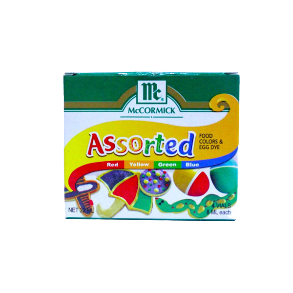 MCCORMICK ASSORTED FOOD COLORS&EGG DYE 4S 32ML