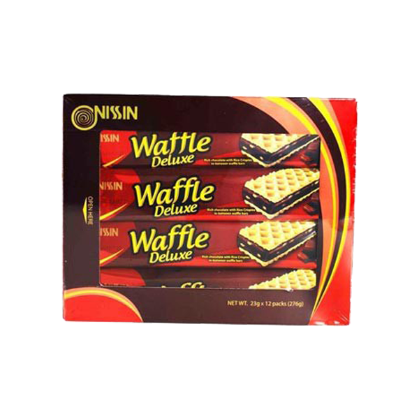 NISSIN WAFFLE DELUXE RICH CHOCO WITH RICE CRISPIES IN WAFFLE BARS 25GX12S