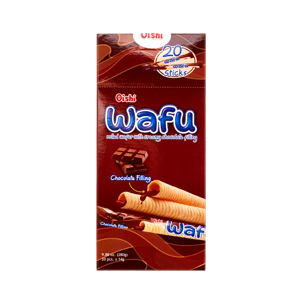 OISHI WAFU ROLLED WAFER WITH CREAMY CHOCOLATE FILLING 280G