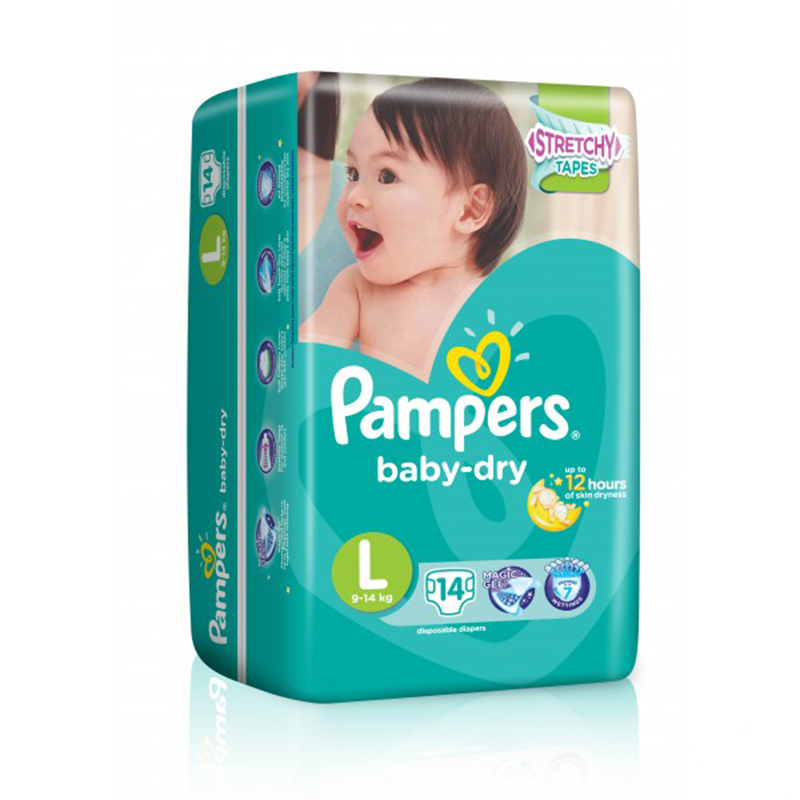 PAMPERS BABY DRY LARGE 14S