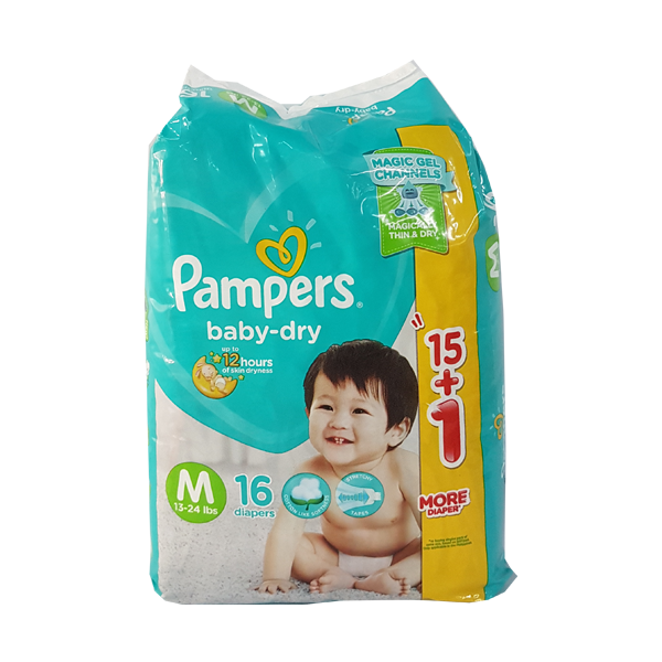 PAMPERS BABY DRY MEDIUM 16S