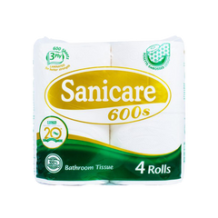 SANICARE BATHROOM TISSUE 3PLY 600SHEETS 200PULLS 4S
