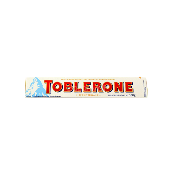 TOBLERONE WHITE CHOCOLATE W/ HONEY AND ALMOND NOUGAT 100G