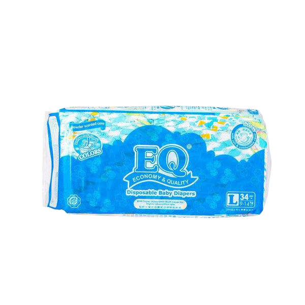 EQ COLORS DISPOSABLE BABY DIAPERS L 34'S