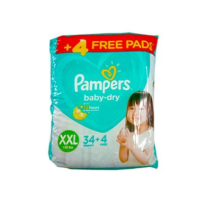 PAMPERS BABY DRY DIAPERS XXL 34S