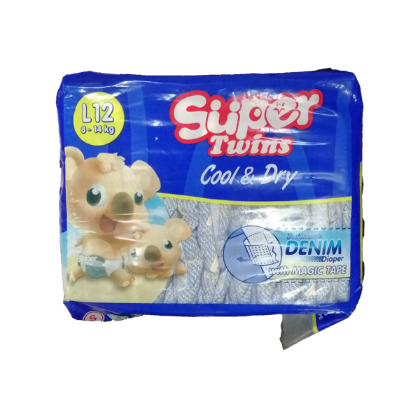 SUPER TWINS BABY DIAPER LARGE 12