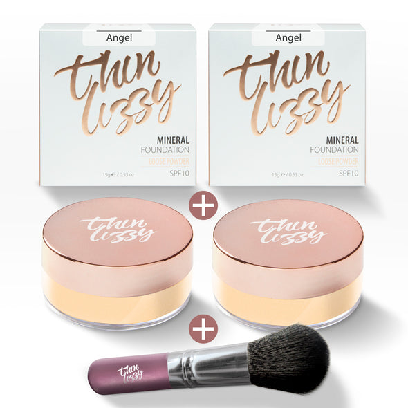Loose Mineral Foundation - Buy One Get One Free + Free Flawless Fibre Brush. Total Value $79.97, Now Only $29.99!