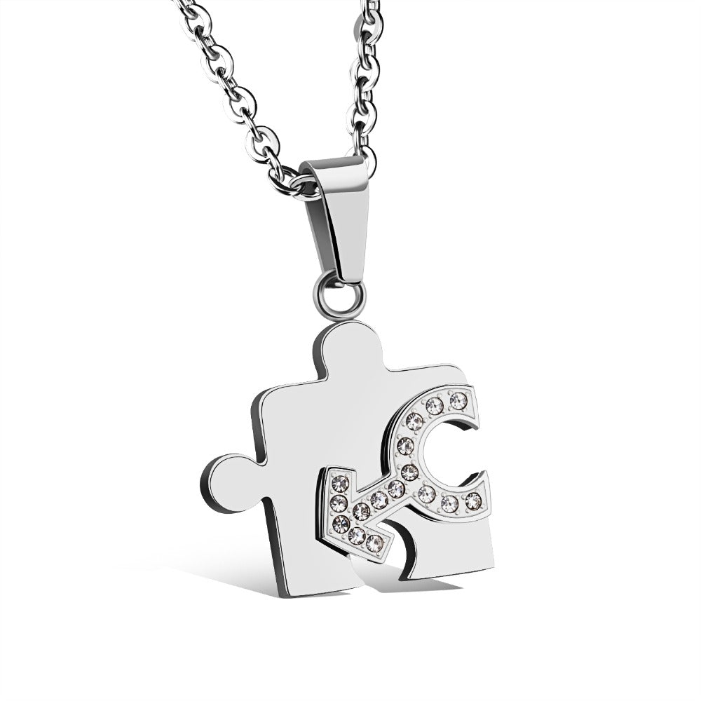 steel his hers piece jigsaw puzzle necklace stainless personalised