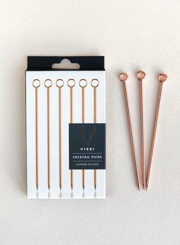 Copper Cocktail Picks Set of 6