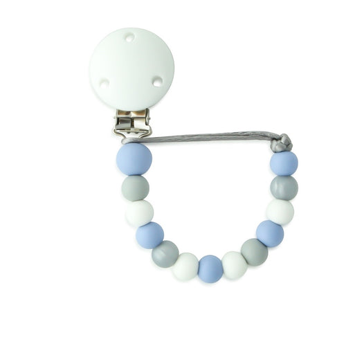 Idabee Soother Holder / Dummy Clip - Sommer Serenity Blue Silver
