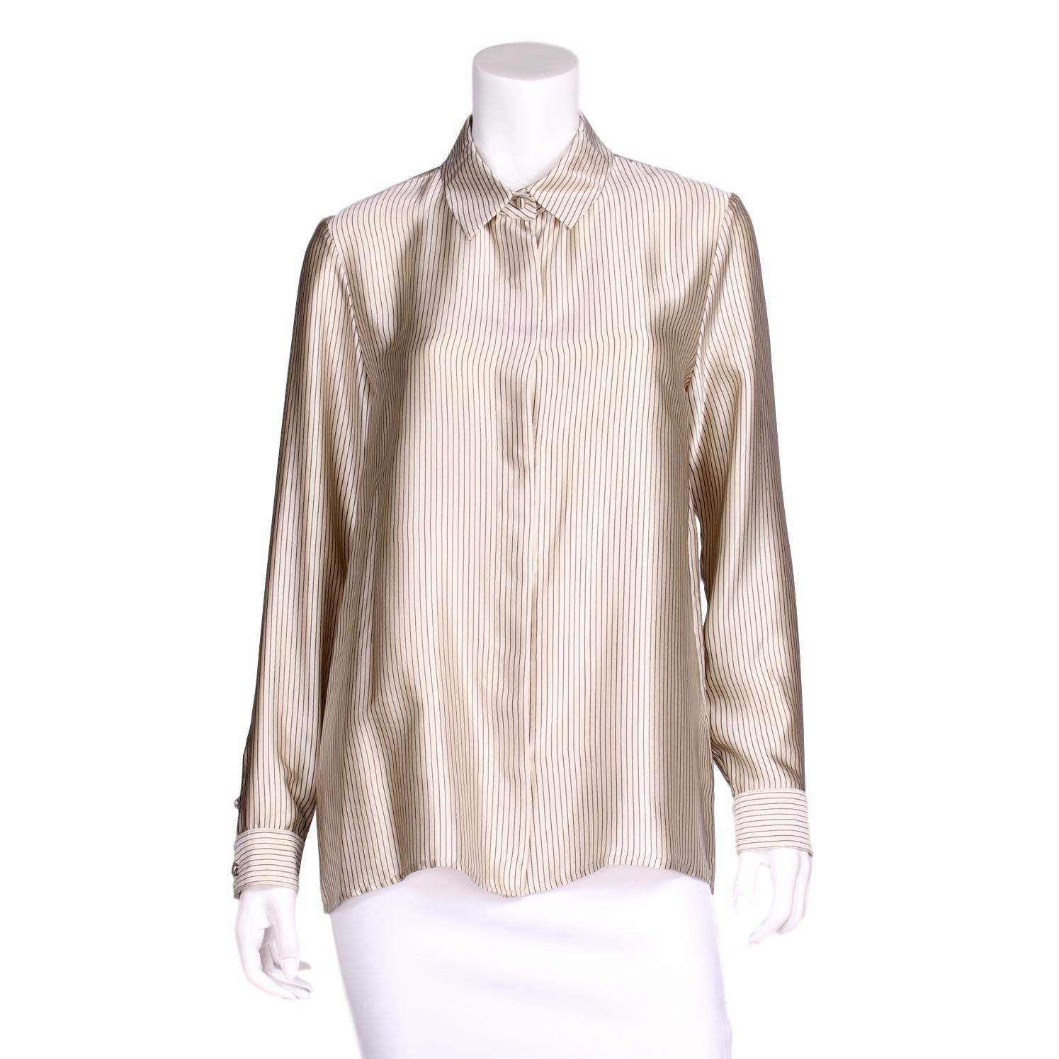 The Row Black & Cr¨me Silk Pinstripe Button Up Blouse US 8 – Adore