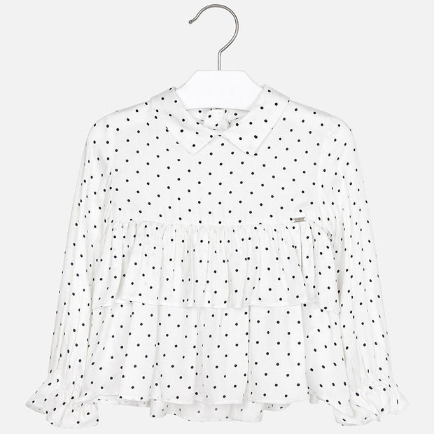 White Blouse with Navy Polka Dots
