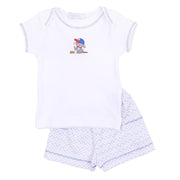 Little Slugger Blue Embroidered Short Set