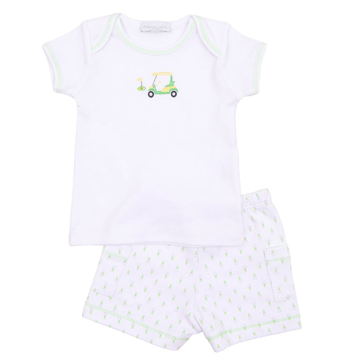 Tee Time Celery Embroidered Short Set