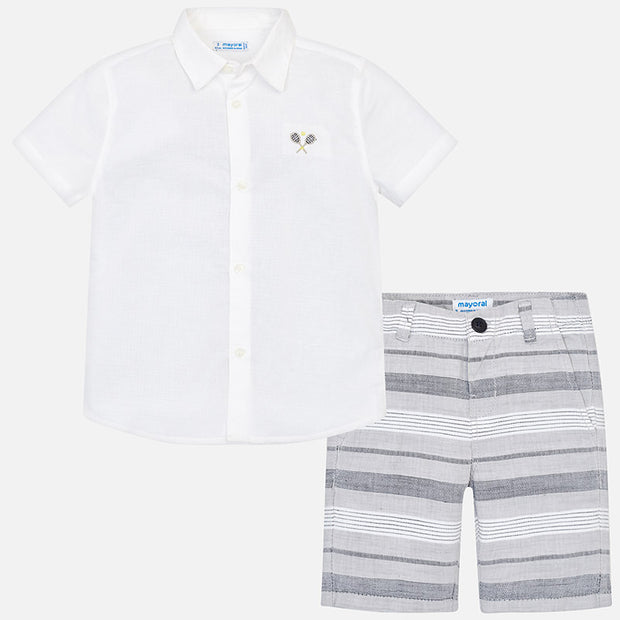 Shirt and striped bermuda shorts set