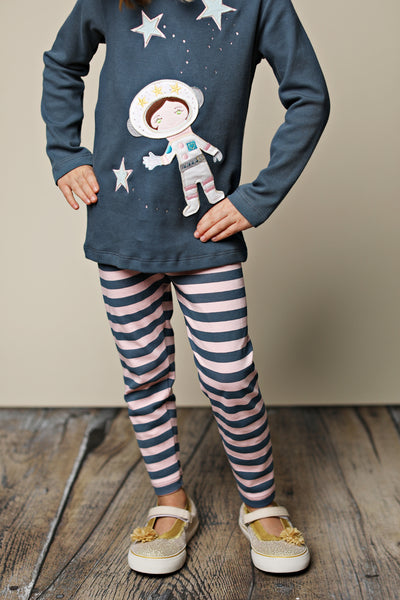 O-Blue Striped Leggings