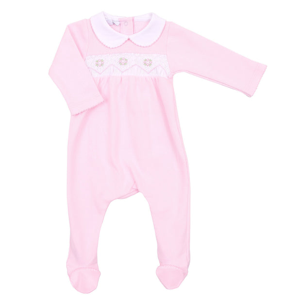 Abby and Adam's Classics Pink Smocked Collared Footie