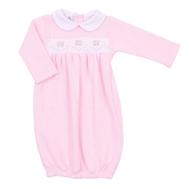 Abby and Adam's Classics Pink Smocked Collared Gathered Gown