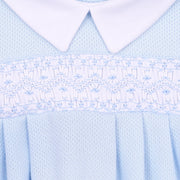 Abby and Adam's Classics Blue Smocked Collared Playsuit