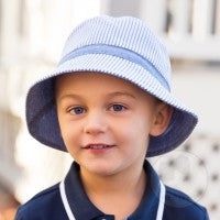 Boys Reversible Bucket Hat - Blue Seersucker