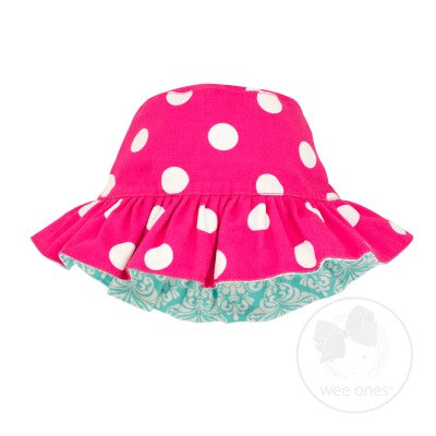 Girls Reversible Cotton Twill Sun Hat